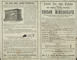 Advert for the Edison Mimeograph